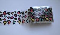 Фольга для дизайна ногтей, литья (переводная). Цвет: разноцветные сердца (Размер: 4см на 1 метр)