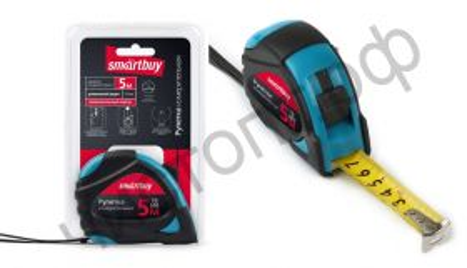 Рулетка измерит., 5мх19мм, прорезин. корпус, 2 фиксатора,  усилен. зацеп, Smartbuy Tools