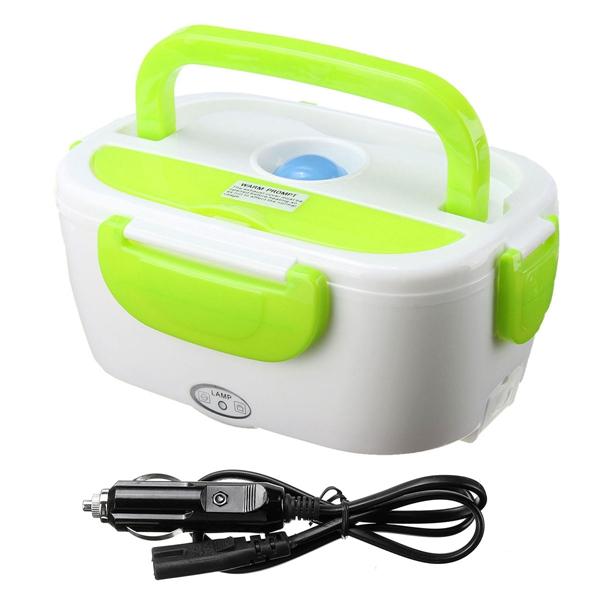 Электрический Ланч-Бокс с подогревом, от прикуривателя автомобиля, цвет зеленый