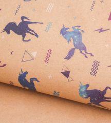 Бумага упаковочная крафтовая «Единороги в космосе», 50х70 см