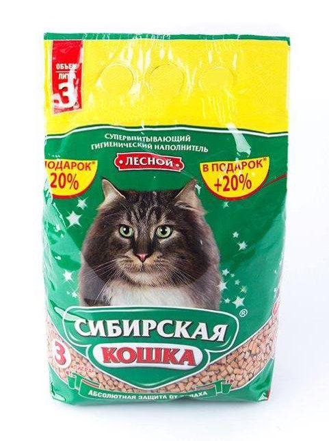 Наполнитель д/туалетов Сибирская кошка Лесной 3л. древ.гранулы 10мм