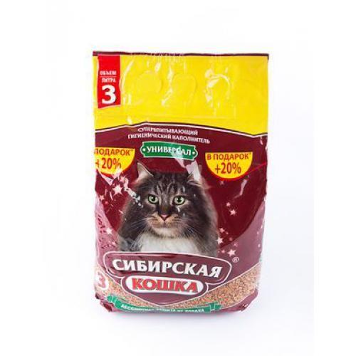 Наполнитель д/туалетов Сибирская кошка Универсал 3л Впитывающий