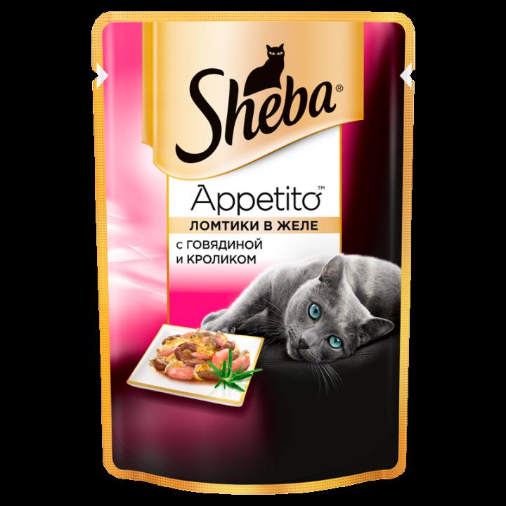 Шеба 85г Аппетито говядина/кролик желе