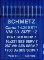Иглы промышленные для трикотажа Schmetz DBx1 SES SERV7 №80 10 шт