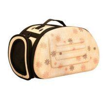 Складная сумка-переноска в цветочек для животных до 6 кг, Цвет: Бежевый