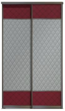 Двери купе - Кожа+Стекло командор, комбинированные