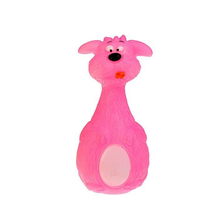 Виниловая игрушка-пищалка для собак Розовая собака, 13.5 см