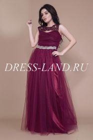 Вечернее платье со стразами цвет марсала