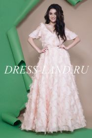 Роскошное вечернее платье в пол из лохматого креп- шифона