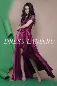 Платье-двойка со съемной юбкой цвета марсала
