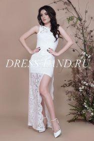 Белое гипюровое платье на одно плечо