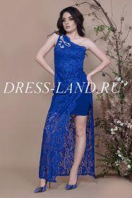 Синее гипюровое платье на одно плечо