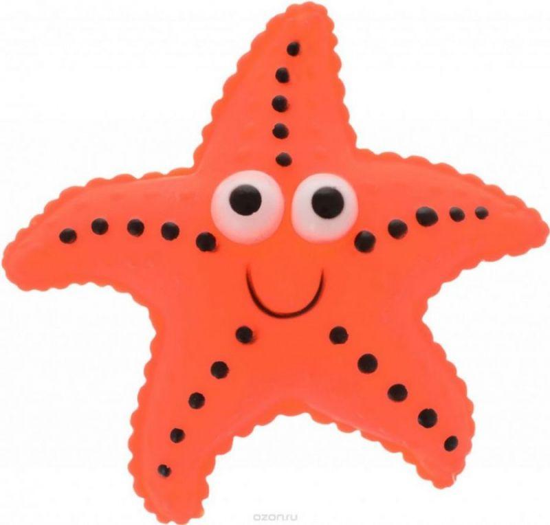 Виниловая игрушка-пищалка для собак Морская Звезда, 12 см, цвет оранжевый