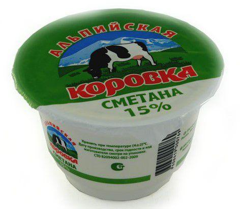 Продукт сметанный Альпийска коровка 15% 200гр