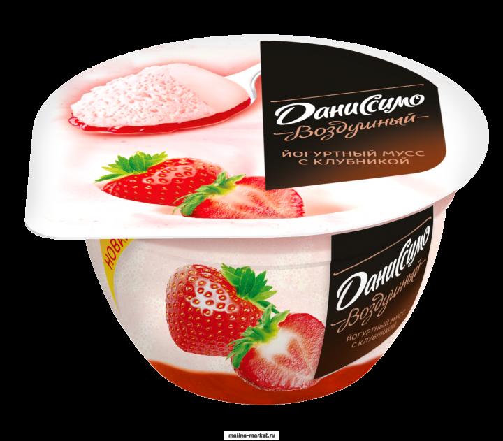 Йогурт Даниссимо 5,6% мусс клубника со сливками 140г Данон Индустрия