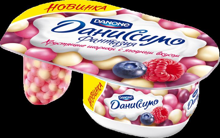 Йогурт Даниссимо Фантазия 6,9% ягодные шарики 105г. Данон