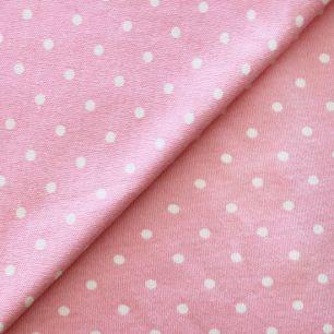 Лоскут трикотажной ткани Горошек на розовом
