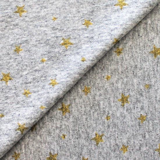 Лоскут трикотажной ткани Звезды на сером