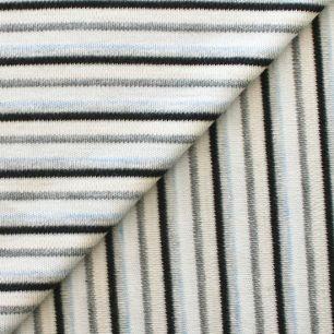 Лоскут трикотажной ткани Черно-голубая полоска