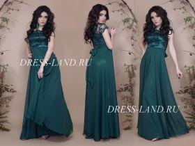 Зеленое вечернее платье в пол