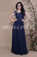 Темно-синее вечернее платье в пол