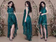Зеленое платье с ассиметричным подолом