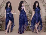 Синее платье с ассиметричным подолом