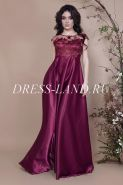 Бордовое вечернее платье с завышенной талией