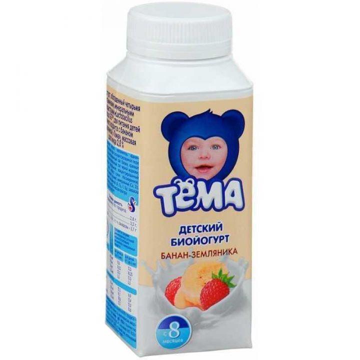 Йогурт Тёма 2.8% питьевой банан/земляника 200г Юнимилк