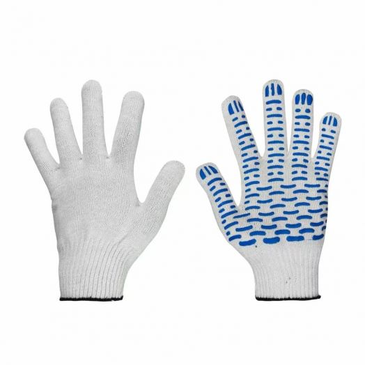 Перчатки х/б 10кл №4 белая с ПВХ Волна уп. 2шт