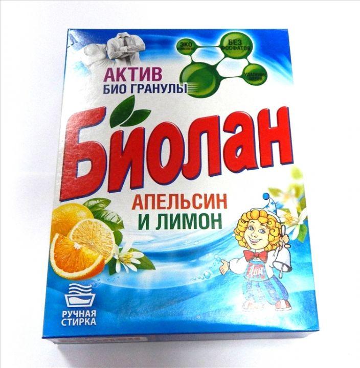 Стир. порошок БИОЛАН 350г Апельсин/Лимон руч.