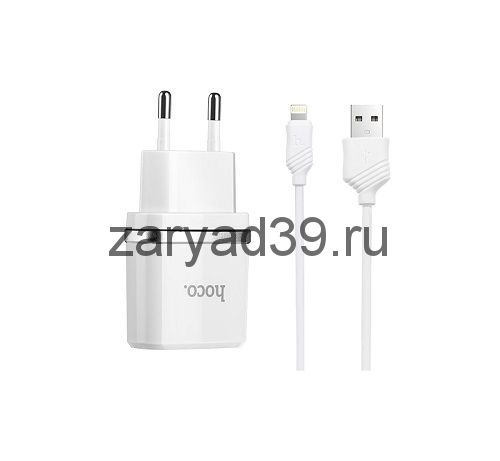 Сетевое зарядное устройство Hoco C11 Smart single USB Lighting Cable