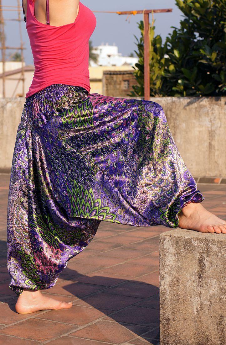 Атласные штаны алладины из искусственного шелка (Москва)