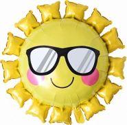Шар (31''/79 см) Фигура, Солнце в солнечных очках, Желтый, 1 шт