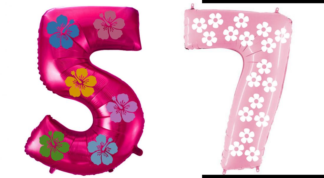 Цифра Цветочная шар фольгированный с гелием