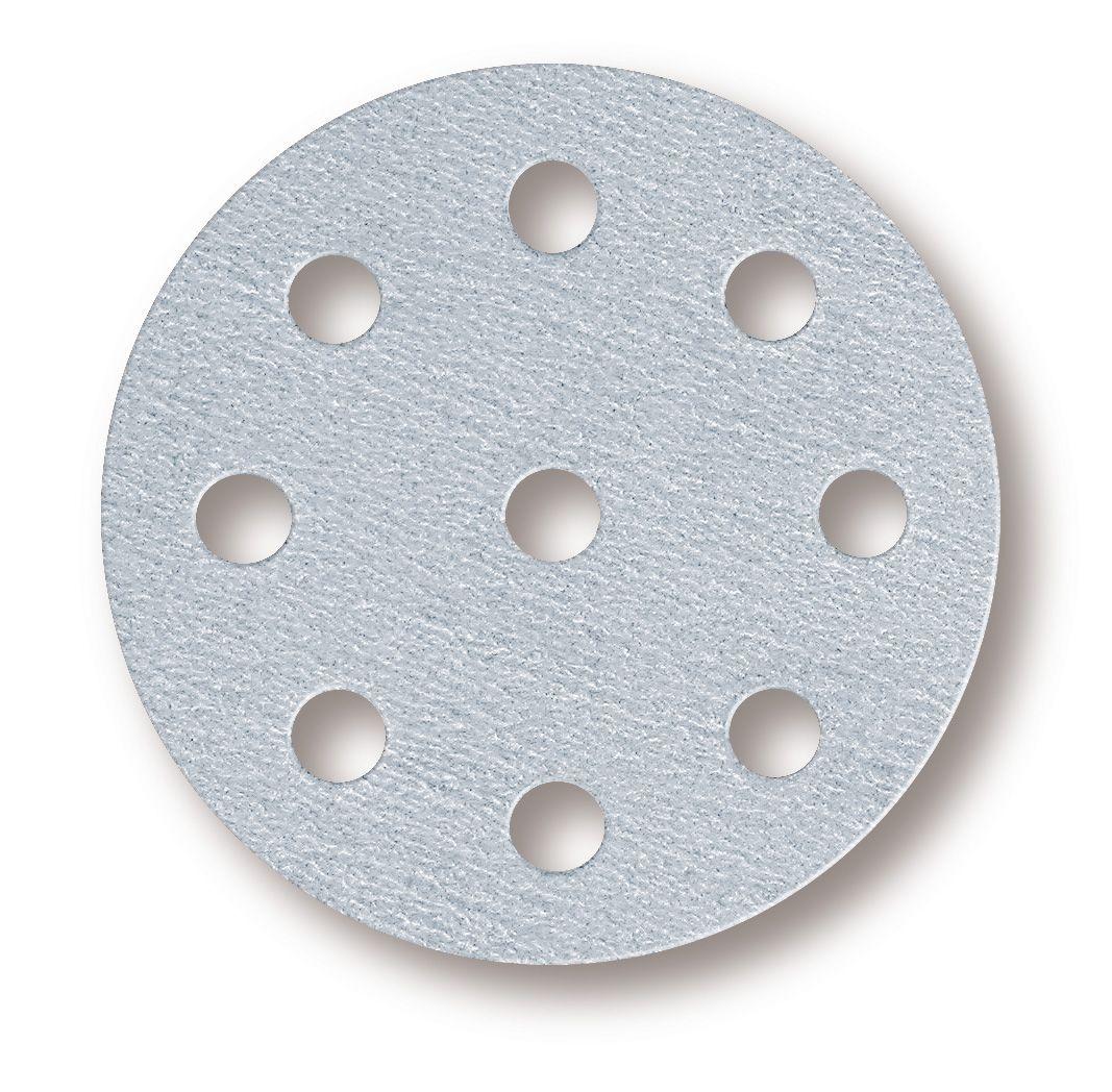 """Mirkа Q.SILVER. Абразивный круг на бумажной основе """"липучка"""" 125мм., 8+1 отверстий, P150, (упаковка 100 шт.)"""