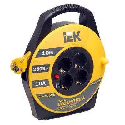 Сетевой удлинитель IEK катушка УК10 с т/з 4 места 2Р+PЕ/10м 3х1,5 мм2 ''Industrial''