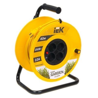 Сетевой удлинитель IEK катушка УК40 с т/з 4 места 2Р/40м 2х1,0 мм2 ''Garden''