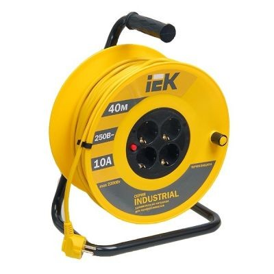 Сетевой удлинитель IEK катушка УК40 с т/з 4 места 2Р+PЕ/40м 3х1,5 мм2 ''Industrial''