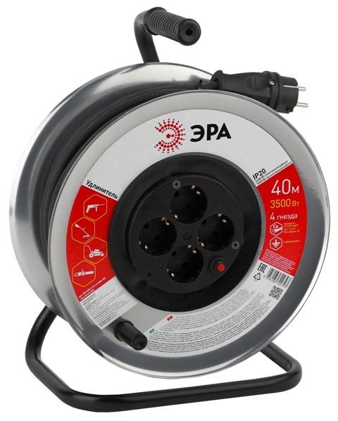 Сетевой удлинитель ЭРА RM-4-3x1.5-40m удлинитель силов ЭРА метал. катушка с заземл. 40м 4гн КГ 3х1.5 мм2 (2/36)