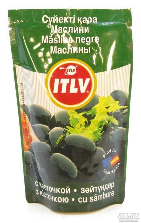 Маслины ITLV черные с/к д/пак, 170мл. Испания