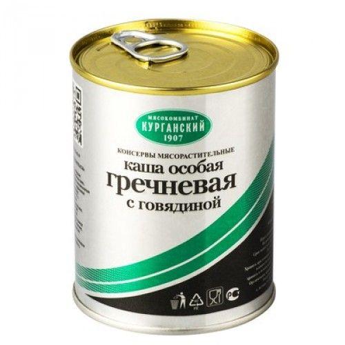 Каша гречневая с говядиной Особая ж/б 340г Курган