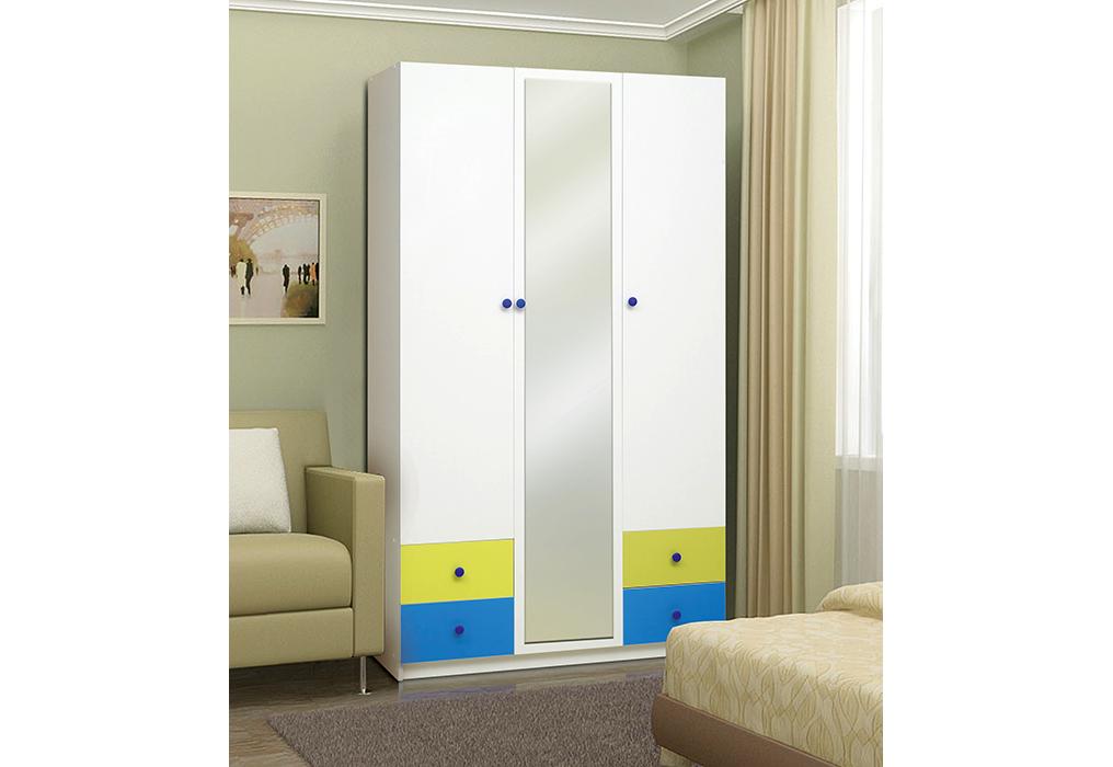 """Шкаф 3-х дверный с ящиками и зеркалом """"Радуга"""""""