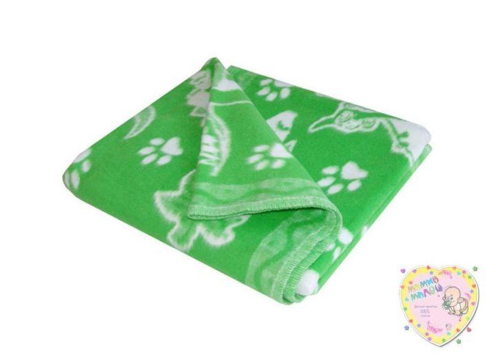 Одеяло детское байковое 118х110 (зеленый динозаврики)