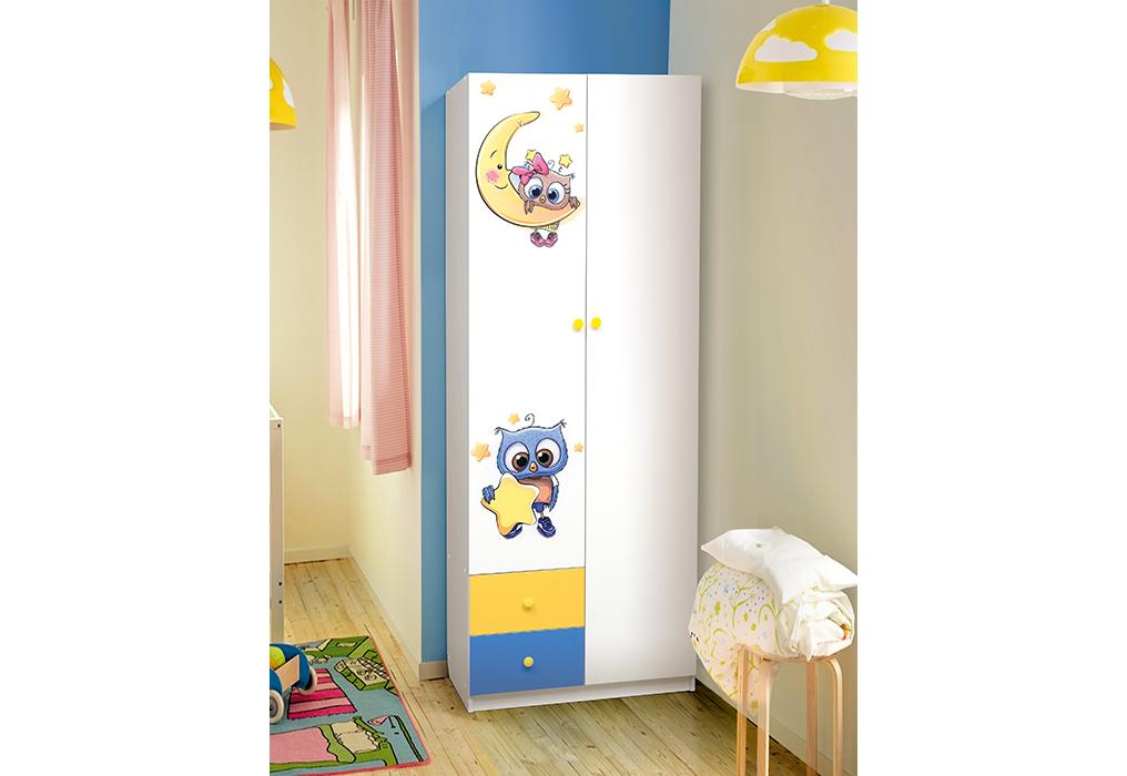 Совята Шкаф 2-х дверный с ящиками и фотопечатью