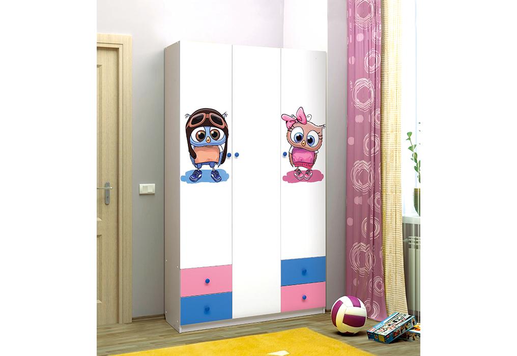 Совята Шкаф 3-х дверный с ящиками и фотопечатью