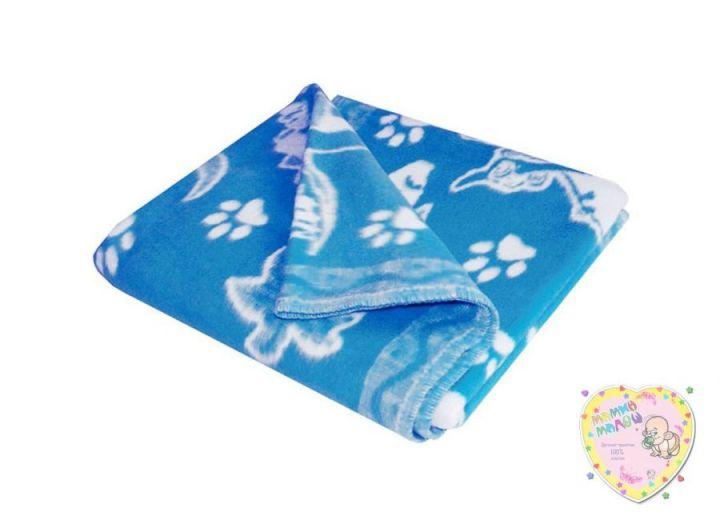 Одеяло детское байковое 118х110 (синий динозаврики)