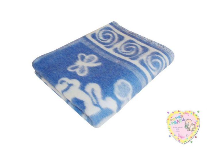 Одеяло детское байковое 118х110 (синий зверята)