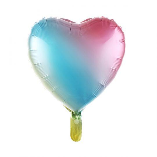 Сердце радужное нежное шар фольгированный с гелием
