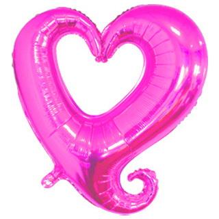 Сердце с завитком фуксия шар фольгированный с гелием